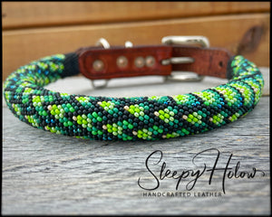 Rolled Leather Beaded Dog Collar - Custom Order