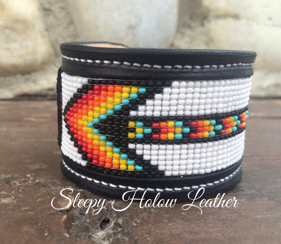 Sleepy Holow Leather bead inlay cuff handmade, alberta, western, custom, arrow