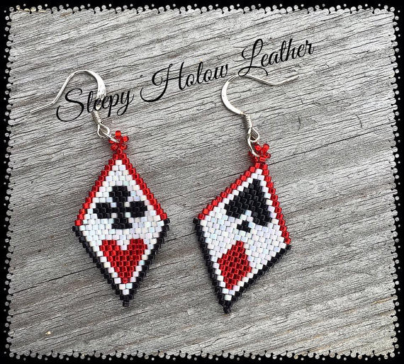Sleepy Holow bead artist beaded earrings, Poker, Las Vegas, alberta made