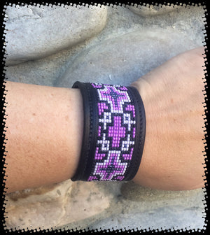 Sleepy Holow Leather bead inlay cuff handmade, alberta, Pinks western custom