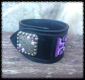 Sleepy Holow Leather bead inlay cuff handmade, alberta, western custom, Swarovski
