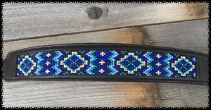 Sleepy Holow Alberta bead leather artist dog collar, blue, dog lover