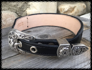 Sleepy Holow Alberta bead leather artist custom dog collar, dog lover, Blue beads, buckle set