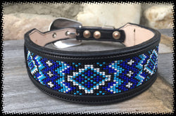 Sleepy Holow Alberta bead leather artist custom dog collar, dog lover, Blue beads