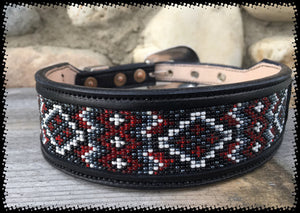 Sleepy Holow Alberta bead & leather artist custom dog collar, dog lover, red beads
