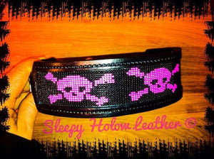 Sleepy Holow Alberta bead leather artist custom dog collar, dog lover, skulls