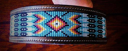 Sleepy Holow Alberta bead leather artist custom dog collar, dog lover, native design