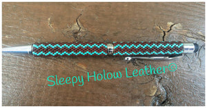 Sleepy Holow hand beaded twist ball point pen, stylus, headphone jack, needle case, custom, Alberta, zig zag pen