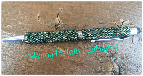 Sleepy Holow hand beaded twist ball point pen, stylus, custom, Alberta, beaded pen
