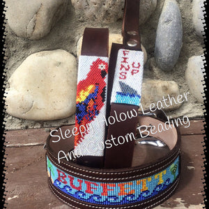 Sleepy Holow Alberta bead leather artist custom dog collar,fins up, jimmie buffet