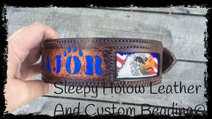 Sleepy Holow Alberta bead leather artist custom dog collar, service dog, Military dog