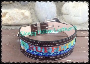 Sleepy Holow Alberta bead leather artist custom dog collar, dog lover, jimmie buffet
