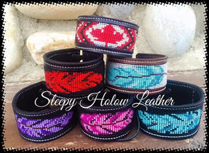 Sleepy Holow Leather bead inlay cuff handmade, alberta, western, beaded feather