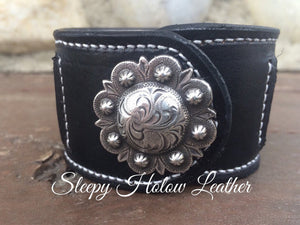 Sleepy Holow Leather bead inlay cuff handmade, alberta, western, custom, arrow, concho