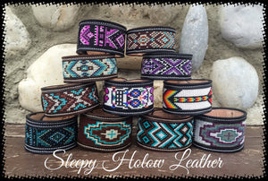 Sleepy Holow Leather bead inlay cuff handmade, alberta, western custom colors and sizes