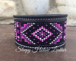 Sleepy Holow Leather bead inlay cuff handmade, alberta, western custom, pink beaded braclete
