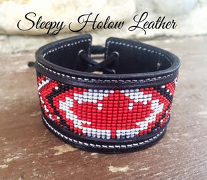 Sleepy Holow Leather bead inlay cuff handmade, alberta, western, Canadian, Canada, Maple Leaf