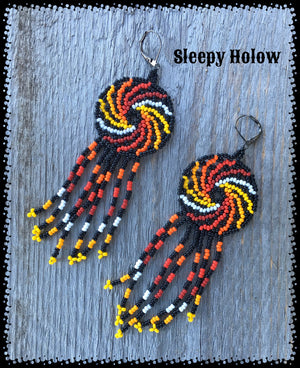 Huichol Bright Spiral Fringe Bead Earrings