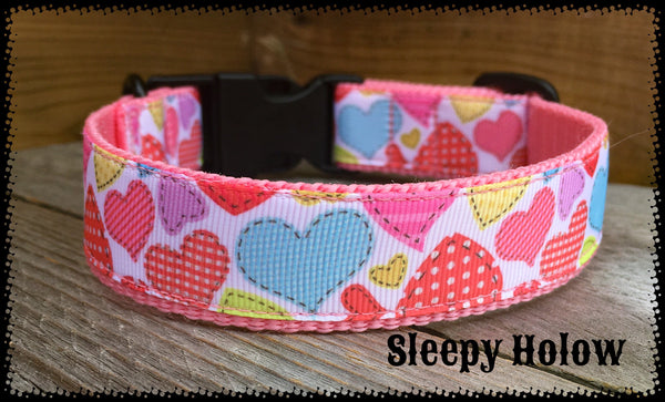 Quilted Hearts Dog Collar