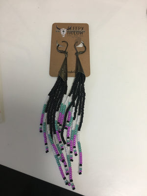 Earrings tassel white purple turquoise black