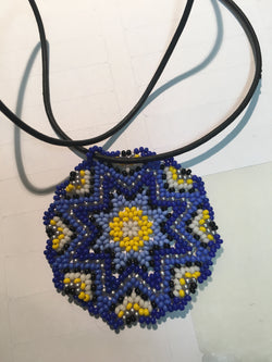 Huichol medallion necklace blue