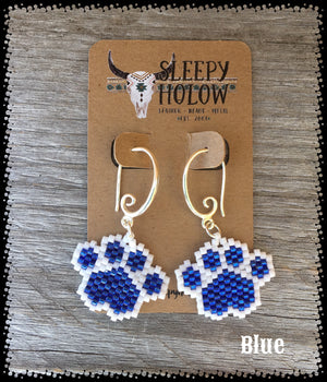 beaded paw print-paw print earrings-beaded paws-dog lover jewelry-paw earring-beaded earrings-blue paw prints