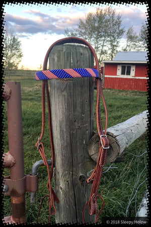 Beaded USA flag Brow Band Headstall Horse Tack