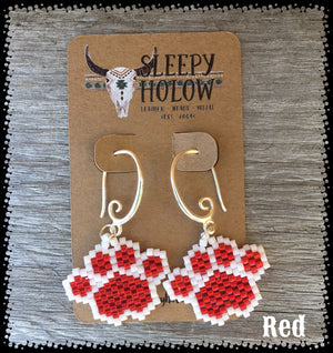 beaded paw print-paw print earrings-beaded paws-dog lover jewelry-paw earring-beaded earrings-red paw prints