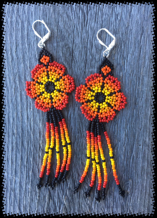 Huichol Flower Bead Earrings