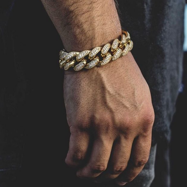 Mens - Supreme Crystal Plated Cuban Link Bracelet [FREE]
