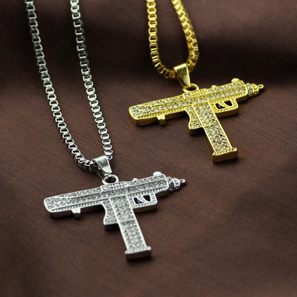 Unisex -  Authentic Supreme CZ Diamond Encrusted Uzi Chain [FREE]