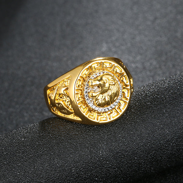 Mens - Exclusive Versece Gold Plated Lion Ring [FREE]