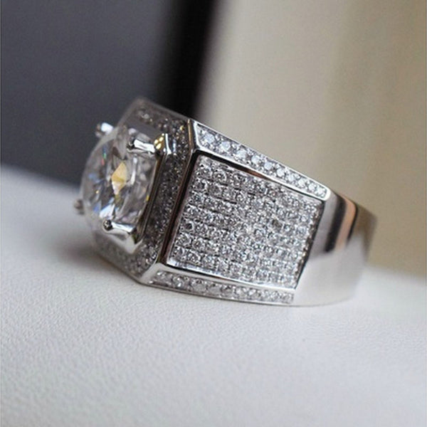 Mens - Authentic Ripple CZ Diamond Pinky Ring [FREE]