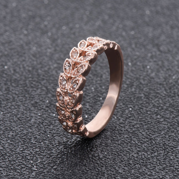 Womens - Exclusive MeyliffK Rose Gold Swiss Leaf Ring [FREE]