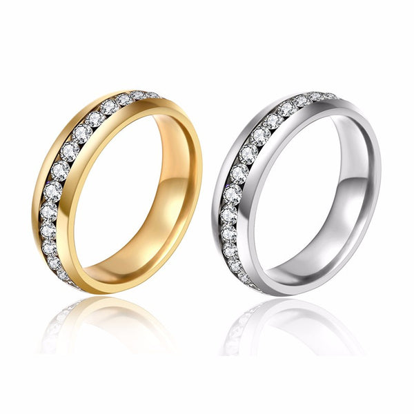 Unisex - Authentic Titan White Gold Plated Crystal Ring [FREE]