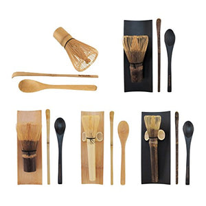 BambooMN Matcha Whisk Set - Golden Chasen (Tea Whisk) + Chashaku (Hooked Bamboo Scoop) + Tea Spoon - 1 Set - Snazzy Gourmet