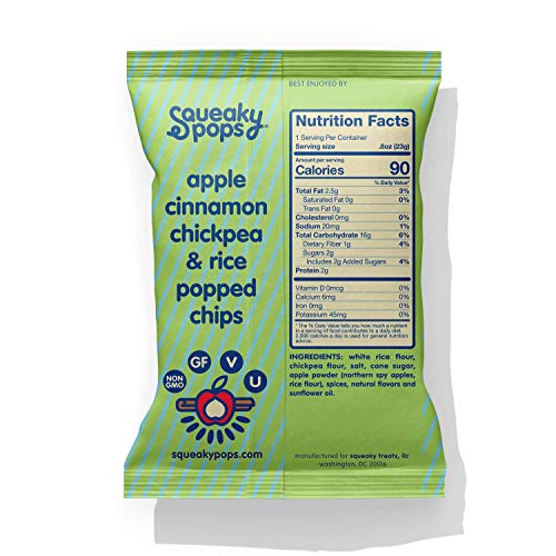 SQUEAKY POPS Chickpea Chips, Non-GMO, Gluten Free, Healthy Snacks, Apple Cinnamon (12 bags, 0.8oz each) - Snazzy Gourmet