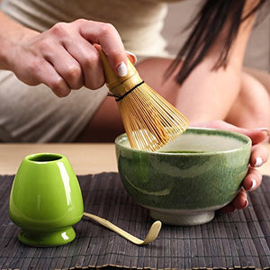 Bamboo Whisk Matcha Tea Start Up Kit 5 items Includes Matcha Bowl Scoop and Stand for Traditional Japanese Tea Ceremony