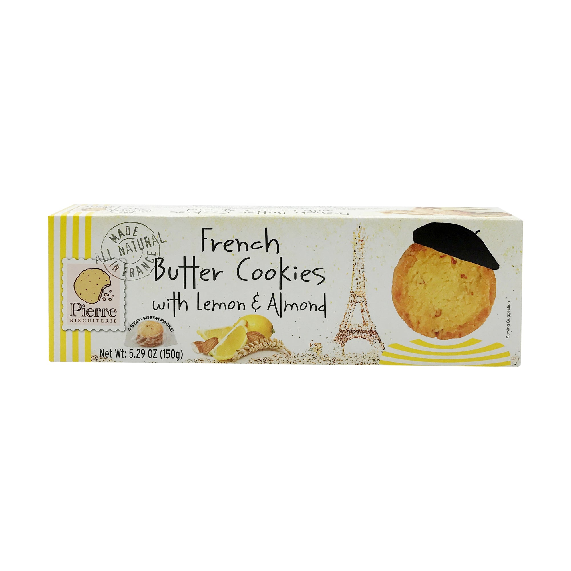 French Butter Cookies with Lemon & Almond, 5.29 oz - Snazzy Gourmet
