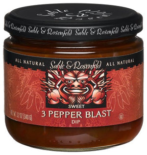Sable and Rosenfeld 3 Pepper Blast Dip, 12-Ounce Glass Jars (Pack of 6) - Snazzy Gourmet