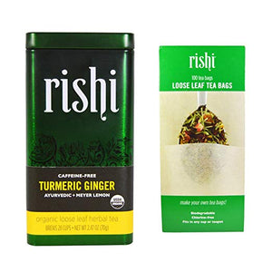 Rishi Tea - Turmeric Ginger Loose Herbal with Tea Filter Combo Pack - Snazzy Gourmet
