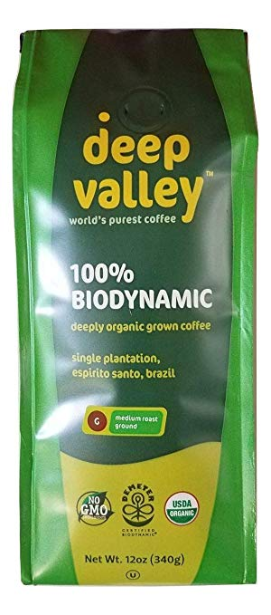 Deep Valley Certified Biodynamic Organic Ground Coffee, Medium Roast, 12 oz - Snazzy Gourmet