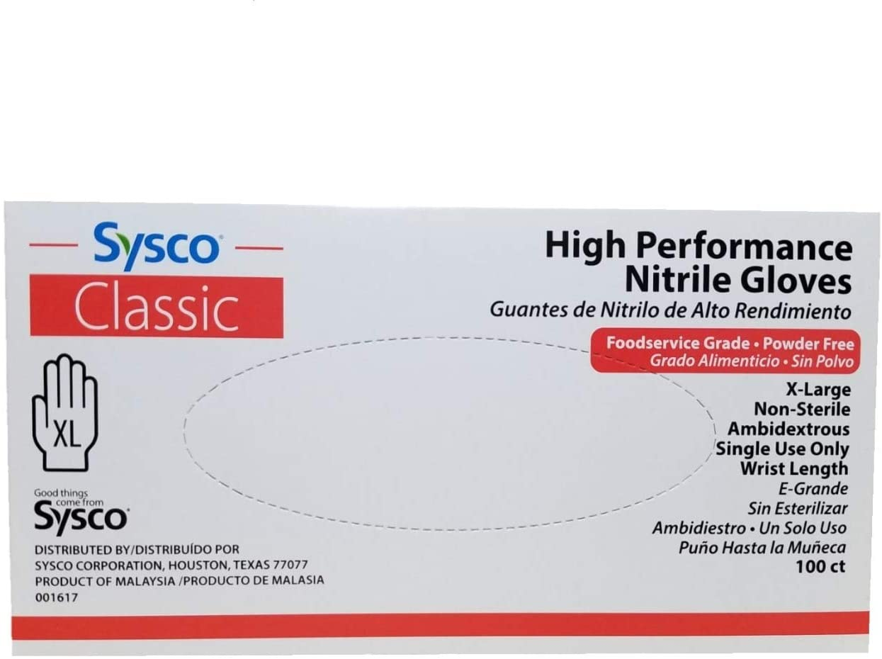 SYSCO HIGH Performance Nitrile Gloves, Extra Large, Blue (Individual Box or Case)
