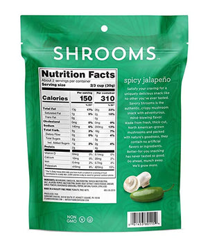 Shrooms Mushroom Crisps, 2 oz Bag - Spicy Jalapeno - Snazzy Gourmet