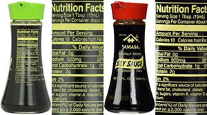 Yamasa Duo Premium Japanese Soy Sauce 5oz Carafe - Low Sodium & Regular Soy - Snazzy Gourmet