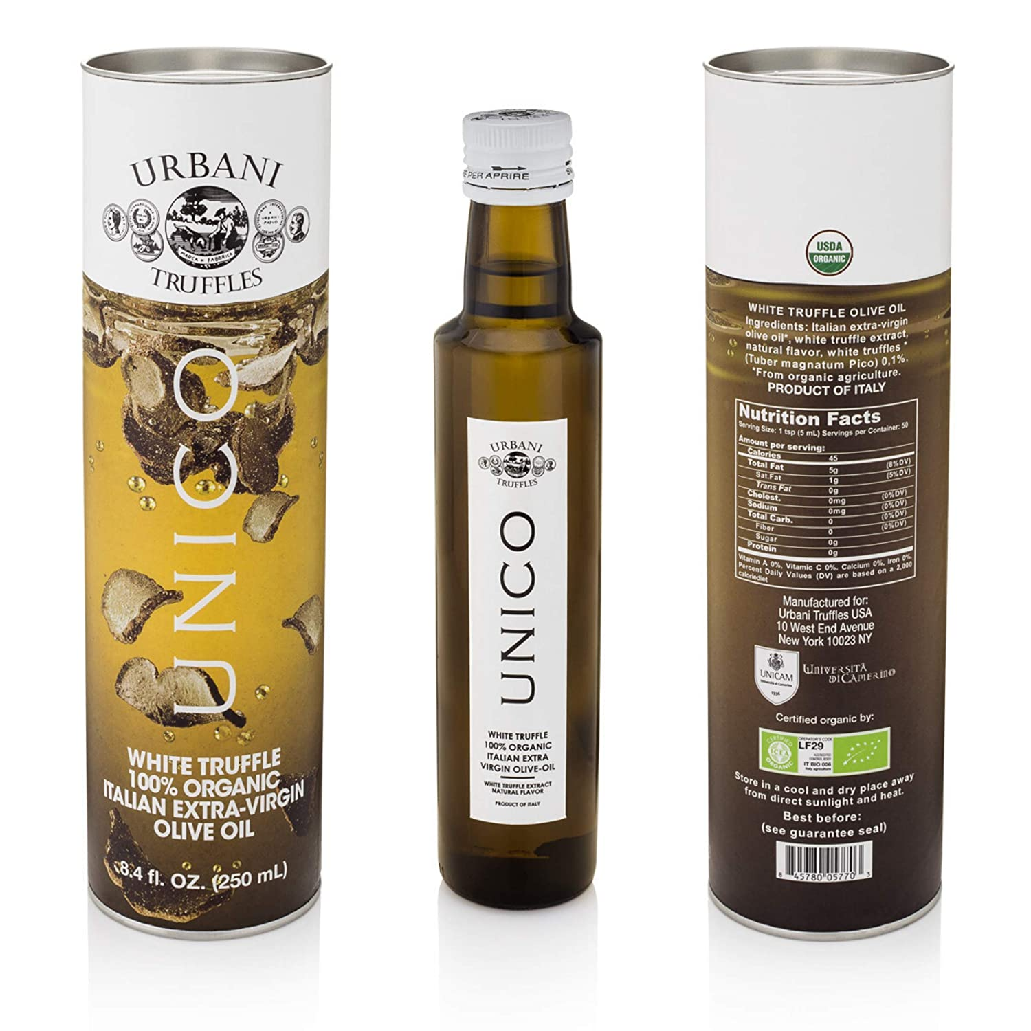 Italian White Truffle Extra Virgin Olive Oil - 8.4 Oz - by Urbani Truffles. Organic Truffle Oil 100% Made In Italy