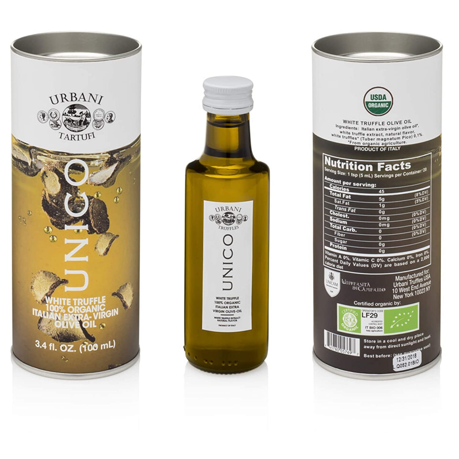 Italian White Truffle Extra Virgin Olive Oil - 3.4 Oz - by Urbani Truffles. Organic Truffle Oil 100% Made In Italy