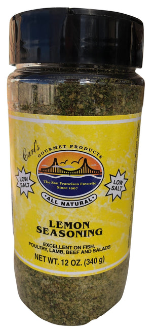 Carl's Gourmet All Natural LOW SALT Lemon Lemon Seasoning and Meat Rub - 12 oz - Snazzy Gourmet