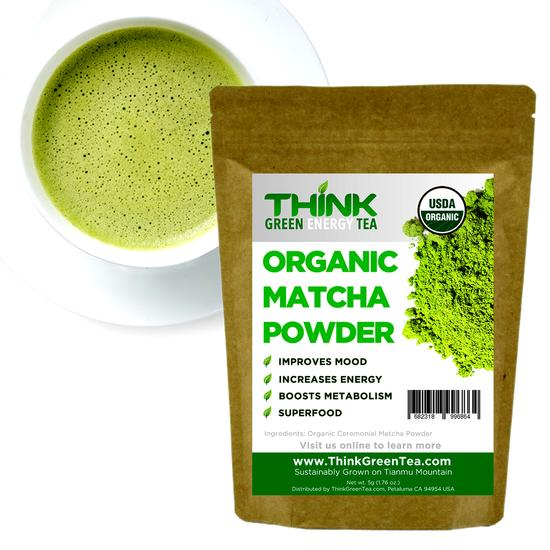 Think Green Energy Tea Organic Matcha Powder, Ceremonial Blend - Snazzy Gourmet