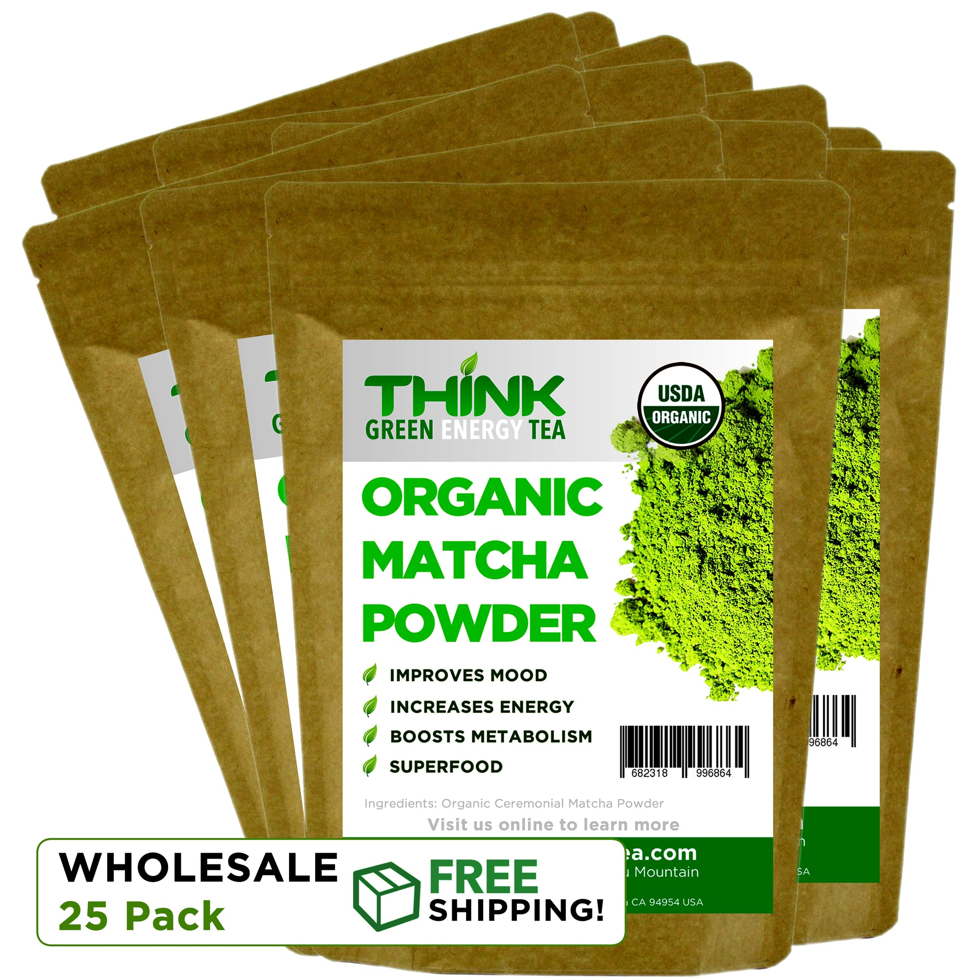Wholesale: Think Green Energy Tea Powder 25 Packs for Resale (Individual packs are 25 servings) - Snazzy Gourmet